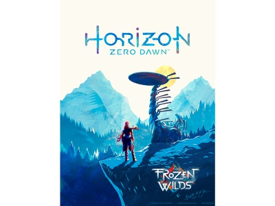 Horizon Zero Dawn - The Frozen Wilds aloy hzd horizon zero dawn gaming poster digital art digital illustration limited colours art limited colour palette illustration