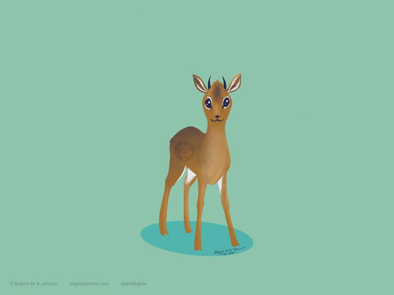 Dik-dik suggested by followers six animal challenge whimsical cute wildlife antilope dik-dik six animals animal digital art digital illustration limited colours limited colour palette art illustration