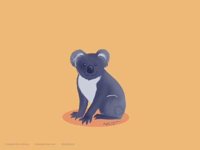 Koala koala cute whimsical suggested by followers six animal challenge six animals animal digital art digital illustration limited colours limited colour palette art illustration