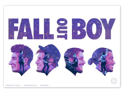 Fall Out Boy double exposure poster pete wentz andy hurley patrick stump joe trohman fall out boy design portrait portrait art double exposure poster art portraits concert poster music poster design poster digital illustration limited colours limited colour palette art illustration
