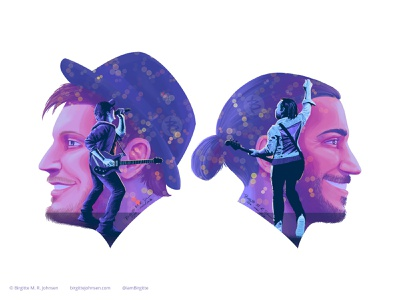 Patrick Stump and Pete Wentz - detail of double exposure poster poster detail poster portrait art portrait double exposure detail patrick stump pete wentz fall out boy digital art digital illustration limited colours limited colour palette art illustration