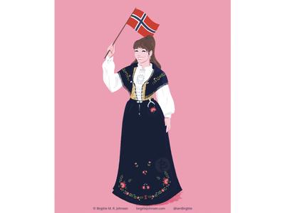 Rogalandsbunad fashion illustration bunad norwegian national costume norwegian folk costume norway traditional fashion digital art digital illustration limited colours limited colour palette art illustration
