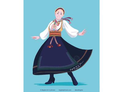 Beltestakk fashion illustration norway fashion traditonal norwegian folk costume bunad digital art digital illustration art illustration