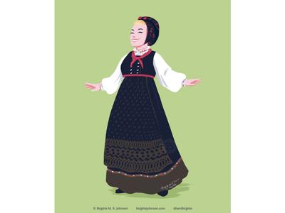 Skjælingsdrakt fashion illustration fashion traditional norwegian folk costume bunad norway digital art digital illustration limited colours limited colour palette art illustration