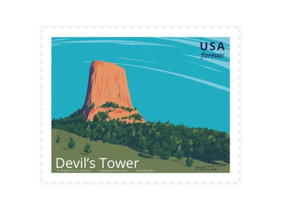 Devil's Tower, Wyoming, USA bear lodge butte butter national monument wyoming united states of america usa stamp design scenery stamp landscape digital art digital illustration art illustration