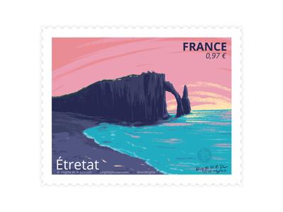 Etrétat, France etrétat france stamp design stamp scenery landscape digital art digital illustration limited colours limited colour palette art illustration