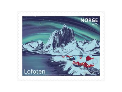 Lofoten, Norway stamp design stamp northern lights lofoten visit norway norway scenery landscape digital art digital illustration limited colours limited colour palette art illustration