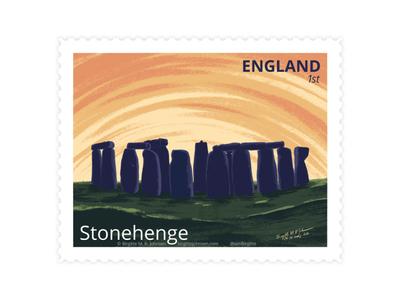 Stonehenge, England stamp design stamp visit england stonehenge uk united kingdom england scenery landscape digital art digital illustration limited colours limited colour palette art illustration