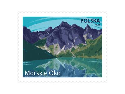 Morskie Oko, Poland stamp design stamp visit poland poland eye of the sea morskie oko mountains lake scenery landscape digital art digital illustration limited colours limited colour palette art illustration
