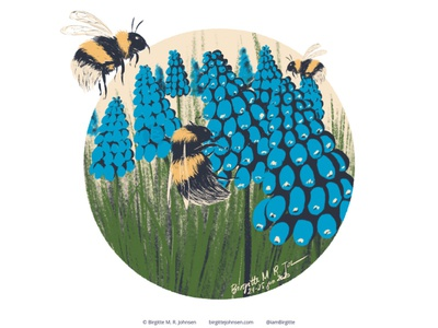 Bumblebee follower suggested image six animals bee hyacinth grape hyacinth bumblebee cute animal digital art digital illustration limited colours limited colour palette art illustration