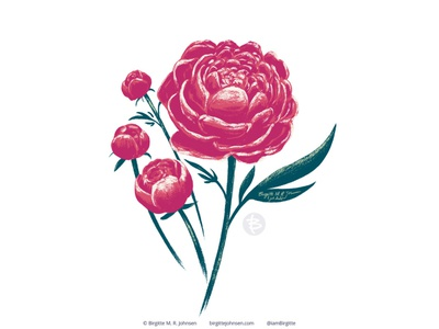 Peony floral art challenge huely challenge huely2020 huely peony flower digital art digital illustration limited colours limited colour palette art illustration