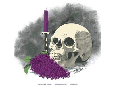 Still life with lilacs skull flora huely challenge huely2020 huely still life flowers digital art digital illustration limited colours limited colour palette art illustration