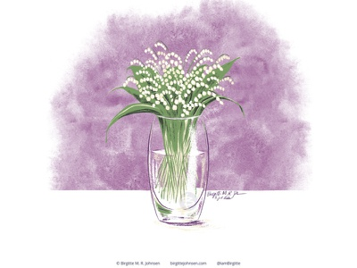 Lily of the valley huely challenge huely2020 huely still life floral lily of the valley flower flora digital art digital illustration limited colours limited colour palette art illustration