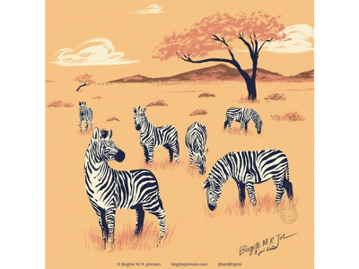 Zebras huely challenge huely2020 huely africa savanna zebras zebra animal digital art digital illustration limited colours limited colour palette art illustration