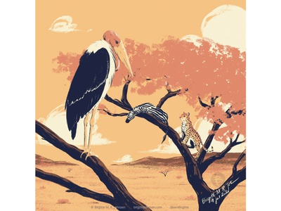 Marabou stork huely challenge huely2020 huely hunter and prey zebra leopard stork marabou stork landscape savannah animal digital art digital illustration limited colours limited colour palette art illustration