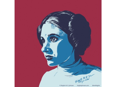 Princess Leia carrie fisher princess leia fan art fanart star wars art starwars star wars huely challenge huely2020 huely portrait illustration portrait digital art digital illustration limited colours limited colour palette art illustration