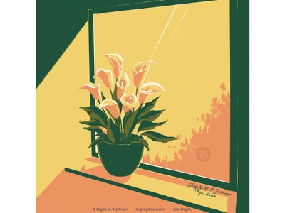 Calla lily house plant lily calla lily window interior flowers flora huely challenge huely2020 huely digital art digital illustration limited colours limited colour palette art illustration