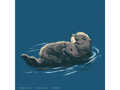 Otter huely challenge huely2020 huely mother and child otter cute animal digital art digital illustration limited colours limited colour palette art illustration