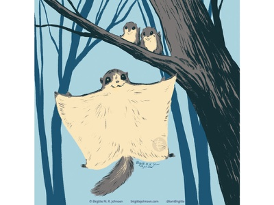 Flying squirrel huely challenge huely2020 huely mother and child flying squirrel squirrel cute animal digital art digital illustration limited colours limited colour palette art illustration