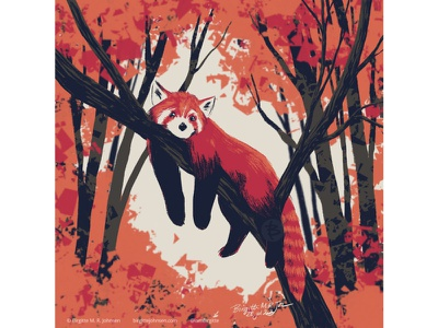 Red panda relaxing huely challenge huely2020 huely autumn leaves red panda autumn cute animal digital art digital illustration limited colours limited colour palette art illustration