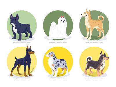 Doggust 2020, the fourth set of six dogs doggust2020 doggust dog illustration dog animal cute digital art digital illustration art illustration