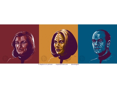 Star Trek: Voyager portraits star trek art fanart fan art robert picardo the doctor roxann dawson trekkie kate mulgrew captain janeway star trek voyager startrek star trek portrait limited colours limited colour palette digital art digital illustration art illustration
