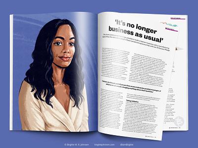Aurora James portrait for Courier Magazine editorial illustration portrait painting portrait art magazine editorial portrait illustration portrait limited colours limited colour palette digital art digital illustration art illustration