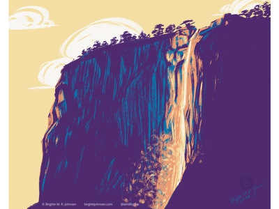 Horsetail fall - Yosemite cool toned mountain waterfall huely challenge huely2021 huely 2021 huely el capitan yosemite national park us national park scenery landscape limited colours limited colour palette digital art digital illustration art illustration