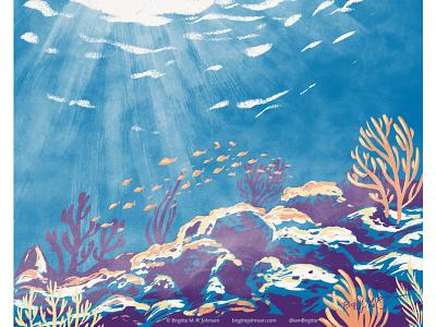 Biscayne national park sea life national park us national park biscayne national park fish scenery under water sea scape landscape limited colours limited colour palette digital art digital illustration art illustration