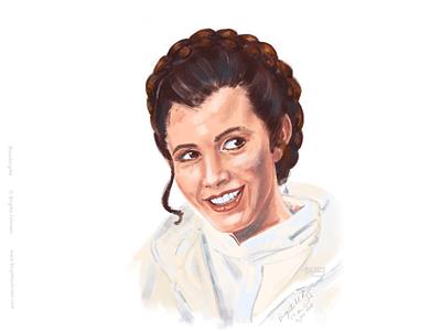 Carrie Fisher/Princess Leia carrie fisher princess leia fan art digital illustration digital art star wars art illustration portrait