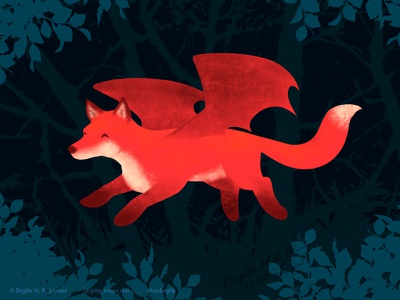 Flying Fox art digital illustration animal matchup bat-like fox not a bat flying fox fox childrens illustration digital art illustration
