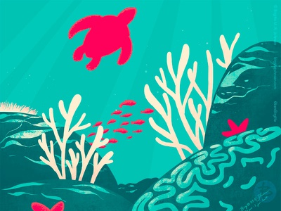 Underwater digital art limited colours art digital illustration illustration underwater limited colour palette