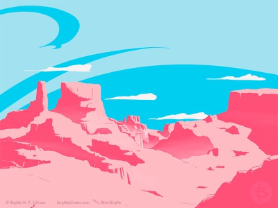 Canyon landscape limited colours limited colour palette art illustration digital illustration digital art