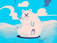Waving polar bear