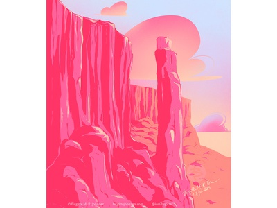 Pink canyon limited colours limited colour palette art digital art illustration digital illustration