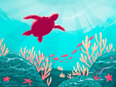 Underwater nature illustration nature animal limited colours limited colour palette art illustration digital art digital illustration