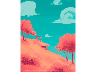 House in the Hill mystery scenery landscape nature colourful colorful limited colours limited colour palette art illustration digital art digital illustration