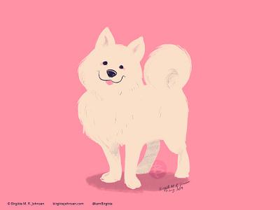 Samoyed doggust2019 doggust dog illustration dog animal limited colours limited colour palette art illustration digital art digital illustration