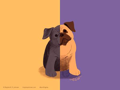 Pug doggust2019 doggust dog illustration dog animal limited colours limited colour palette art illustration digital art digital illustration