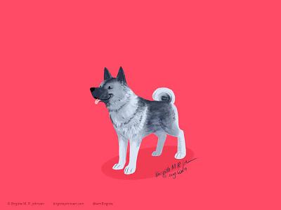 Norwegian Elkhound doggust2019 doggust dog illustration dog animal limited colours limited colour palette art illustration digital art digital illustration