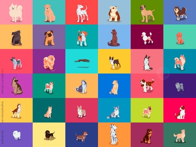 All 36 dogs drawn during August doggust dog illustration doggust2019 dog animal art illustration digital art digital illustration
