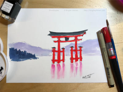 Inktober day 1, take 2 on Itsukushima Shrine