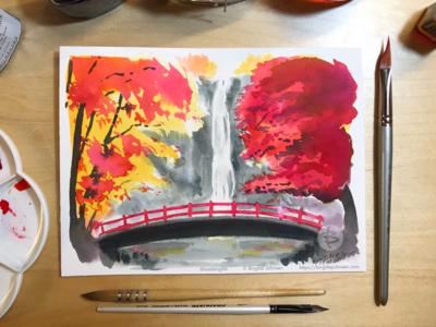 Inktober day 8: Meiji no Mori Minō Quasi-National Park