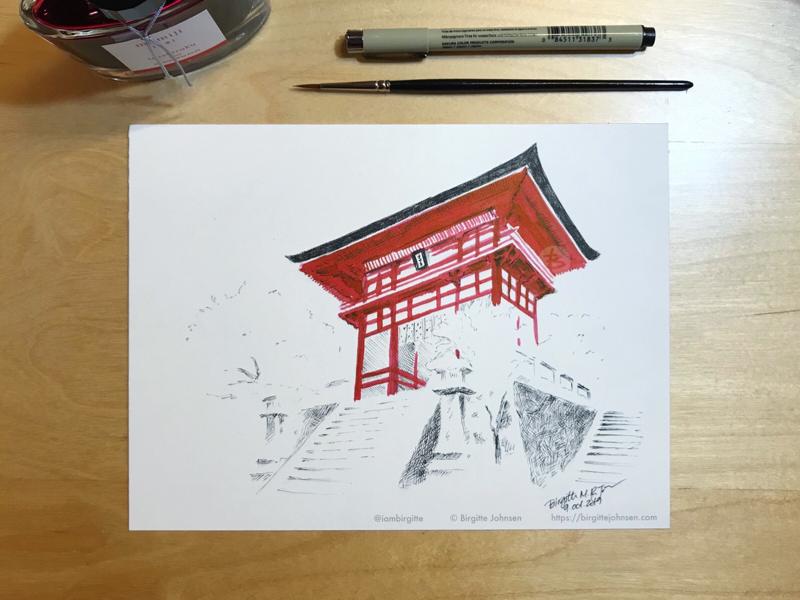Inktober day 9: Kiyomizu-dera winter deva gate kyoto kiyomizu-dera temple scenery landscape japanese scenery japan ink painting ink drawing inktober2019 inktober ink limited colours limited colour palette illustration art
