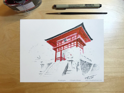 Inktober day 9: Kiyomizu-dera