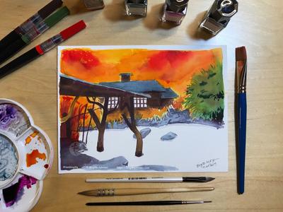 Inktober day 10: Tsurunoyu Onsen
