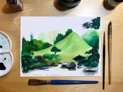 Inktober day 14: Suizen-ji Jōju-en garden