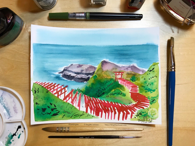 Inktober day 15: Motonosumi Inari Shrine cliff shrine motonosumi inari shrine yamaguchi scenery landscape japanese scenery japan ink painting ink drawing inktober2019 inktober ink limited colours limited colour palette illustration art