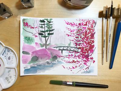 Inktober day 16: Kairaku-En Garden