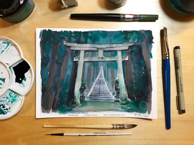 Inktober day 17: Taki Shrine